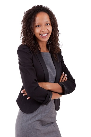 working woman: Smiling african american business woman, Isolated over white background Stock Photo