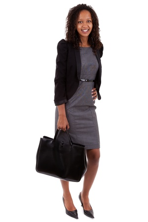 African american business woman holding  a handbag Stock Photo - 10418000