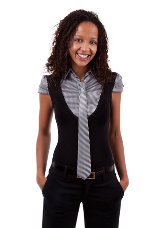 Smiling african american business woman, Isolated over white background Stock Photo - 10417986
