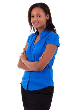 Smiling african american business woman with folded arms, isolated on white background Stock Photo - 10469416