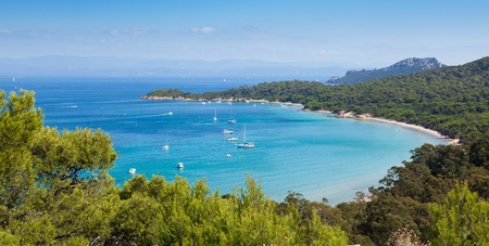 Panoramic view of Porquerolles island from  Stock Photo