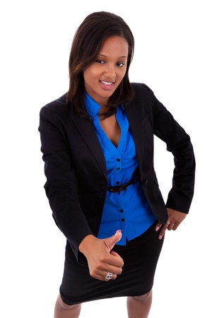 Young African american business woman making thumbs up, isolated on white background Stock Photo - 10571183