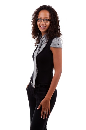 eyeglass: Smiling african american business woman, Isolated over white background Stock Photo