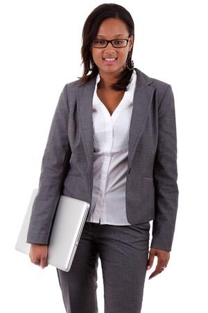 american african: African donna d'affari americana in possesso di un computer portatile, isolato su sfondo bianco