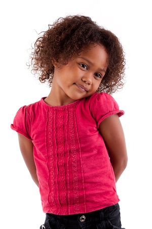 Cute little African Asian girl,  over white background Stock Photo - 10711818