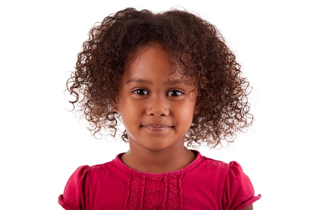 asian afro: Cute little African Asian girl,  over white background Stock Photo