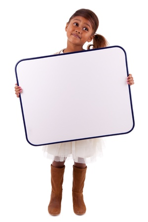 black boards: Cute little african american girl holding a whiteboard, isolated on white background