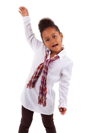 brazilian ethnicity: Cute little African Asian girl,  over white background Stock Photo
