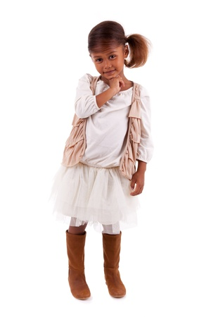 girl boots: Cute little African Asian girl,  over white background Stock Photo