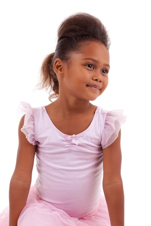 asian afro: Cute little African Asian girl smiling ,with folded arms Stock Photo