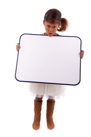 Cute little african american girl holding a whiteboard, isolated on white background photo