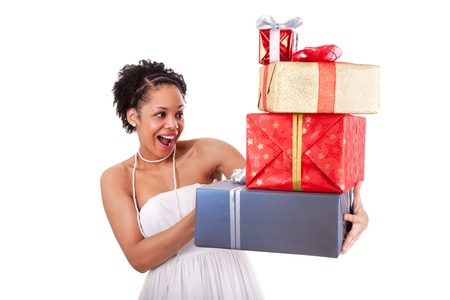 Young African American woman holding gifts boxes , isolated on white background photo