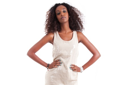 african american woman: Young beautiful African American woman with curly hair , isolated on white background