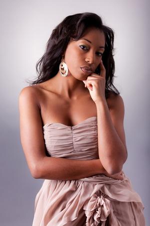 Young beautiful African woman posing photo