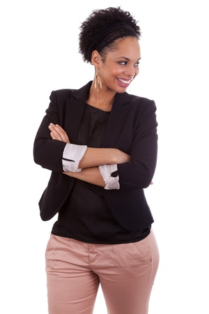Smiling african american woman with folded arms, isolated on white background photo