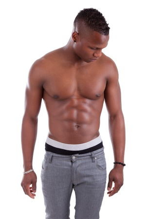 Sexy muscular african american man shirtless isolated on white background photo