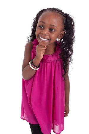 infante: Poco ni�a afroamericana sonriente, aisladas sobre fondo blanco Foto de archivo