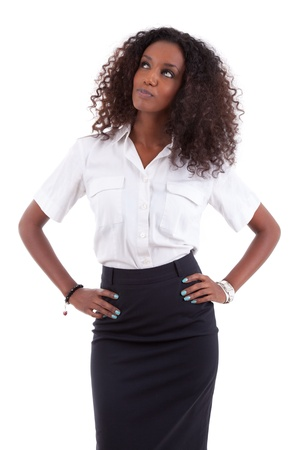 african business: Young african american business woman looking up, isolated over white background