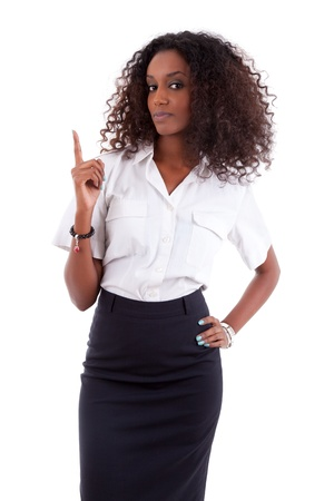 Young african american business woman showing something, isolated over white background photo