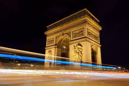 paris night: Arc de Triomphe - Arch of Triumph by night in Paris, France Stock Photo
