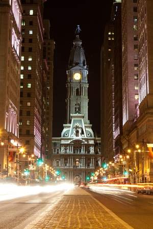 Philadelphia straten 's nachts Stockfoto