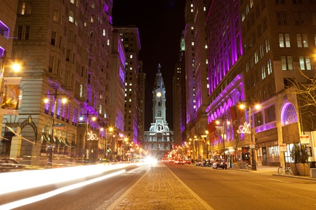 Philadelphia streets  by night photo