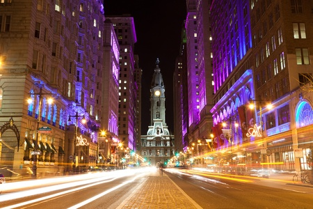 town halls: Philadelphia streets  by night
