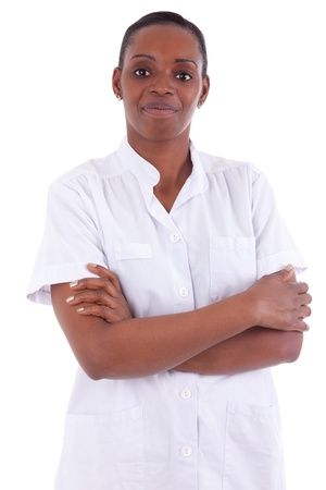 Female african american healthcare worker with folded arms isolated on white background Stock Photo - 12812413