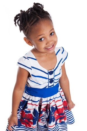 toddler girl: Portrait of a cute little african american girl, isolated on white background
