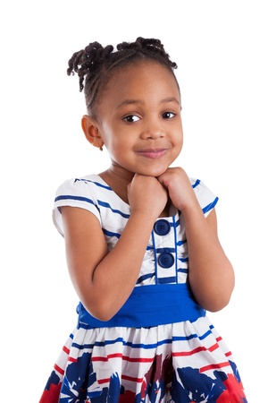 mixed ethnicities: Portrait of a cute little african american girl, isolated on white background