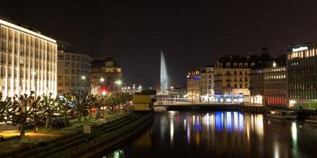 geneva: Panoramic view of Geneva skyline by night in Switzerland Stock Photo