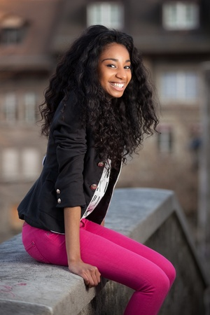 Outdoor of a  portrait happy young african american teenage girl Stock Photo - 12956963