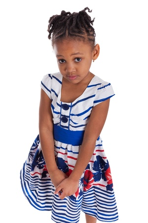 Portrait of a cute little african american girl, isolated on white background photo