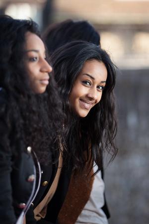 Outdoor Portrait  of happy young african american teenage girls photo