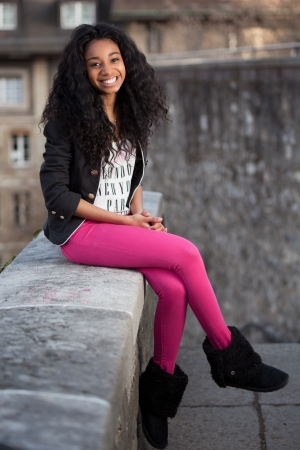 south american ethnicity: Outdoor of a  portrait beautiful young african american teenage girl