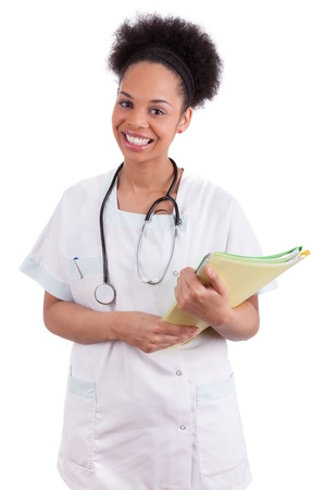 black nurse: Young african american doctor with a stethoscope, isolated on white background