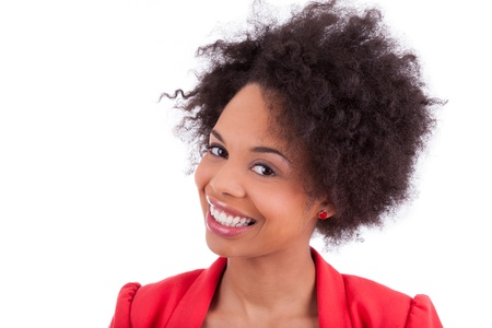 african american woman smiling: Closeup portrait of a beautiful african american woman, isolated on white background