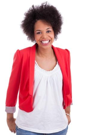 mannequin africain: Portrait d'une belle femme afro-am�ricaine, isol� sur fond blanc