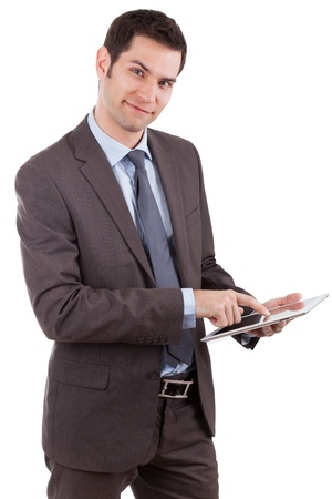 Young caucasian businessman using a tablet pc,isolated on white background Stock Photo - 13281183