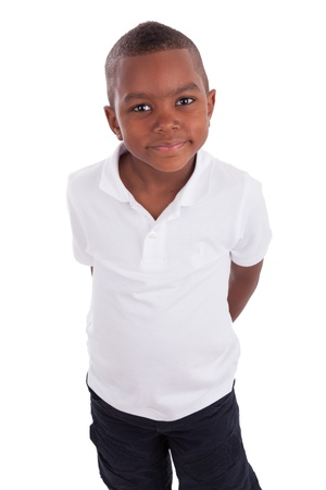 Portrait of a cute african american little boy, isolated on white background Stock Photo - 13522843