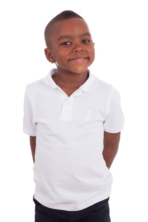 south african: Portrait of a cute african american little boy, isolated on white background