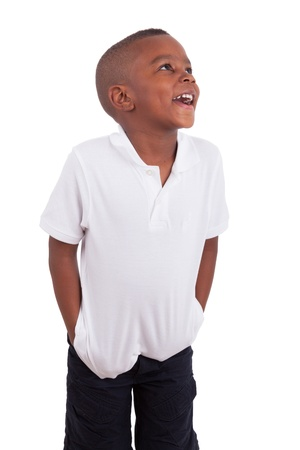 Portrait of a cute african american little boy, isolated on white background Stock Photo - 13522849