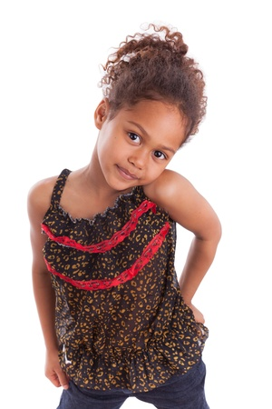 biracial: Cute little African Asian girl,  over white background Stock Photo
