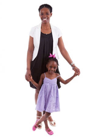african american mother and daughter: Happy african mother with her daughter, isolated on white background Stock Photo