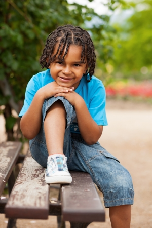 brazilian caribbean: Outdoor portrait of a cute african american little boy Stock Photo