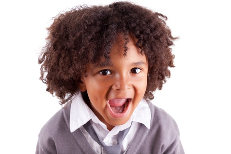 Portrait of a cute african little boy screaming,isolated on white background Stock Photo - 14235060