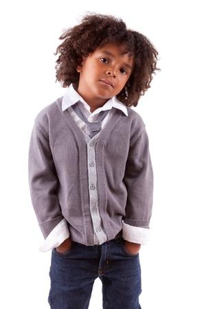 garcon africain: Studio portrait d'un petit garçon mignon africain, isolé sur fond blanc Banque d'images
