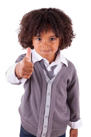 Portrait of a cute african little boy making thumbs up,isolated on white background photo