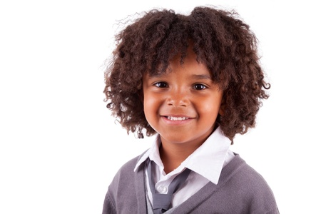 African children: Portrait of a cute african american little boy, isolated on white background