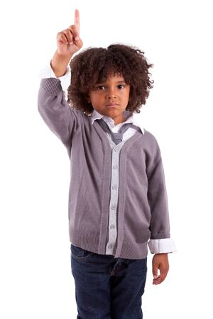 Little african american boy with finger up, isolated on white background photo